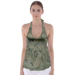 Vintage Background Green Leaves Babydoll Tankini Top