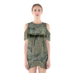 Vintage Background Green Leaves Shoulder Cutout One Piece