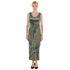 Vintage Background Green Leaves Fitted Maxi Dress