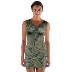 Vintage Background Green Leaves Wrap Front Bodycon Dress