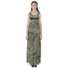 Vintage Background Green Leaves Empire Waist Maxi Dress