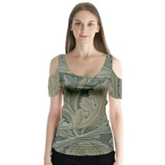 Vintage Background Green Leaves Butterfly Sleeve Cutout Tee