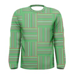 Geometric Pinstripes Shapes Hues Men s Long Sleeve Tee