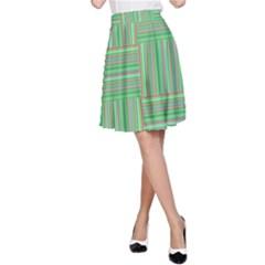 Geometric Pinstripes Shapes Hues A-Line Skirt