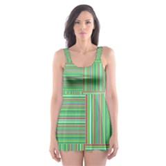 Geometric Pinstripes Shapes Hues Skater Dress Swimsuit