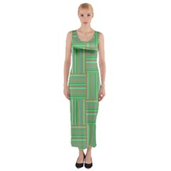 Geometric Pinstripes Shapes Hues Fitted Maxi Dress