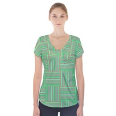 Geometric Pinstripes Shapes Hues Short Sleeve Front Detail Top