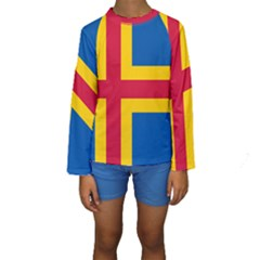 Flag Of Aland Kids  Long Sleeve Swimwear