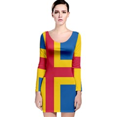 Flag of Aland Long Sleeve Velvet Bodycon Dress