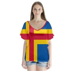 Flag of Aland Flutter Sleeve Top