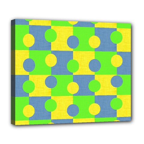 Abric Cotton Bright Blue Lime Deluxe Canvas 24  x 20