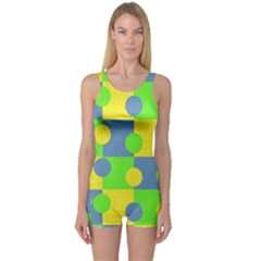 Abric Cotton Bright Blue Lime One Piece Boyleg Swimsuit