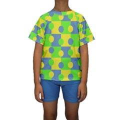Abric Cotton Bright Blue Lime Kids  Short Sleeve Swimwear