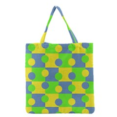Abric Cotton Bright Blue Lime Grocery Tote Bag