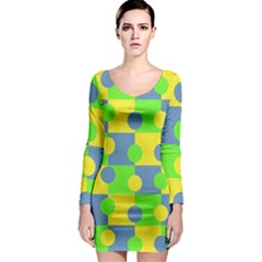 Abric Cotton Bright Blue Lime Long Sleeve Bodycon Dress