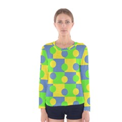 Abric Cotton Bright Blue Lime Women s Long Sleeve Tee
