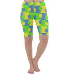 Abric Cotton Bright Blue Lime Cropped Leggings