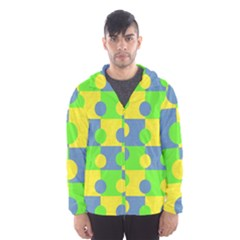 Abric Cotton Bright Blue Lime Hooded Wind Breaker (Men)