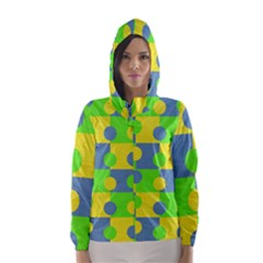 Abric Cotton Bright Blue Lime Hooded Wind Breaker (Women)