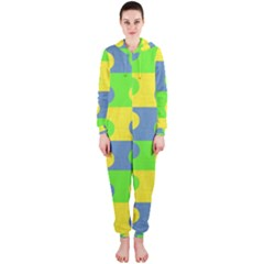 Abric Cotton Bright Blue Lime Hooded Jumpsuit (Ladies)