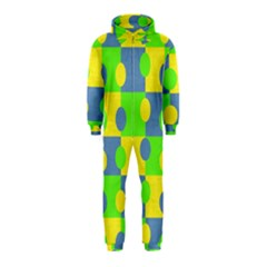 Abric Cotton Bright Blue Lime Hooded Jumpsuit (Kids)