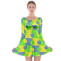 Abric Cotton Bright Blue Lime Long Sleeve Skater Dress