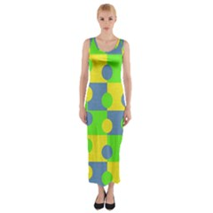 Abric Cotton Bright Blue Lime Fitted Maxi Dress