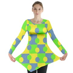 Abric Cotton Bright Blue Lime Long Sleeve Tunic