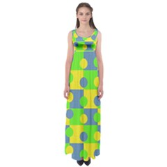 Abric Cotton Bright Blue Lime Empire Waist Maxi Dress