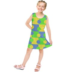 Abric Cotton Bright Blue Lime Kids  Tunic Dress
