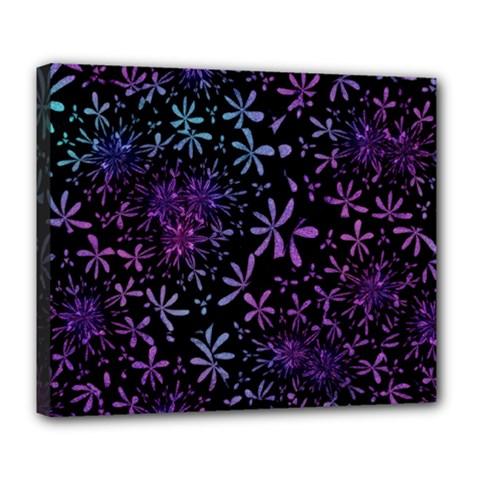 Retro Flower Pattern Design Batik Deluxe Canvas 24  x 20