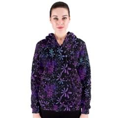 Retro Flower Pattern Design Batik Women s Zipper Hoodie