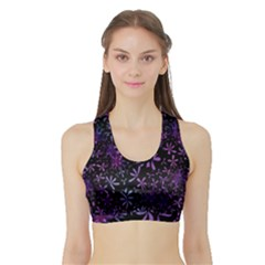 Retro Flower Pattern Design Batik Sports Bra with Border