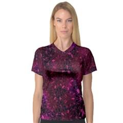 Retro Flower Pattern Design Batik Women s V-Neck Sport Mesh Tee