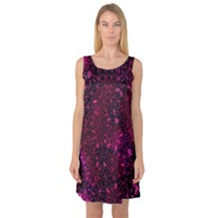 Retro Flower Pattern Design Batik Sleeveless Satin Nightdress