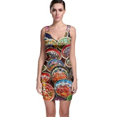 Art Background Bowl Ceramic Color Sleeveless Bodycon Dress