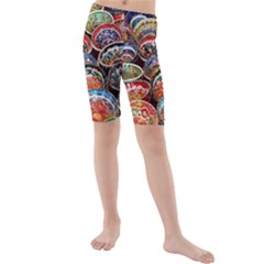 Art Background Bowl Ceramic Color Kids  Mid Length Swim Shorts