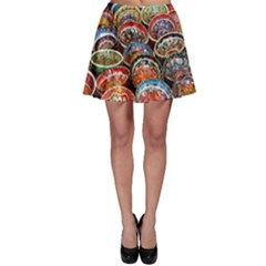 Art Background Bowl Ceramic Color Skater Skirt