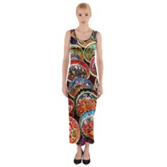 Art Background Bowl Ceramic Color Fitted Maxi Dress