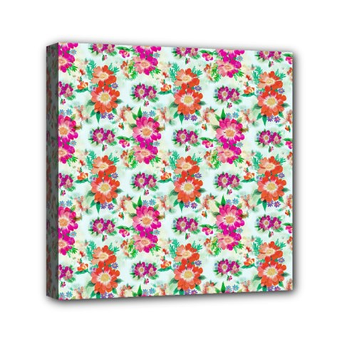 Floral Flower Pattern Seamless Mini Canvas 6  X 6