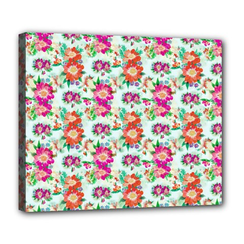 Floral Flower Pattern Seamless Deluxe Canvas 24  x 20