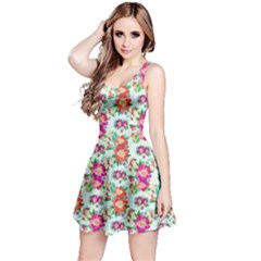 Floral Flower Pattern Seamless Reversible Sleeveless Dress