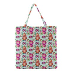 Floral Flower Pattern Seamless Grocery Tote Bag