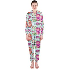 Floral Flower Pattern Seamless Hooded Jumpsuit (Ladies)