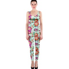 Floral Flower Pattern Seamless Onepiece Catsuit