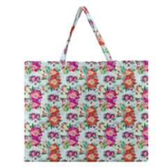 Floral Flower Pattern Seamless Zipper Large Tote Bag