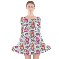 Floral Flower Pattern Seamless Long Sleeve Velvet Skater Dress