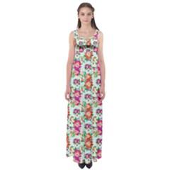 Floral Flower Pattern Seamless Empire Waist Maxi Dress