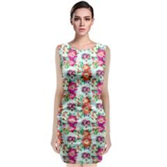 Floral Flower Pattern Seamless Classic Sleeveless Midi Dress