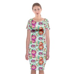 Floral Flower Pattern Seamless Classic Short Sleeve Midi Dress